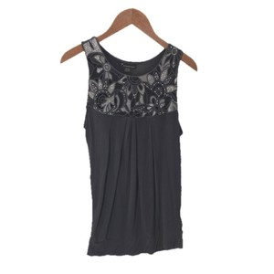 Forever 21 Embellished Sleeveless Detail Top GREY/ SILVER