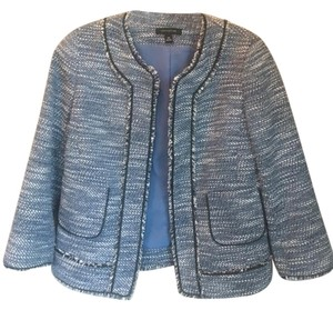 Ann Taylor Tweed Blue/White/Black Jacket