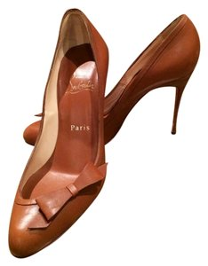 Christian Louboutin Bow Leather Red Soles Cognac Pumps
