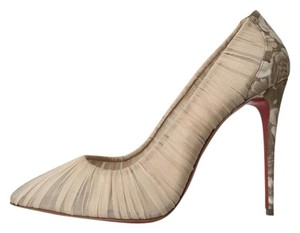 Christian Louboutin Follie Draperia Porcelain Floral Beige Pigalle Follies Nude Pumps