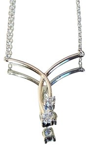 Other Sterling Silver double CZ Necklace
