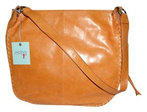 Hobo International Glazed Leather Whipstiching Boho Chic Hobo Bag