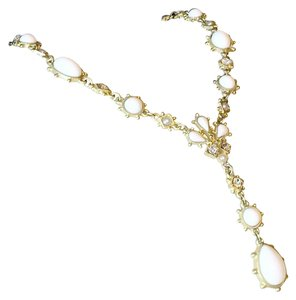 Gold Tone Vermeil Y Necklace With Rhinetones And White Canochons