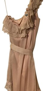 Modcloth short dress Beige Lace Trim Belted on Tradesy