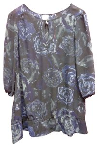 Just My Size Sheer Floral Top Black/Blue