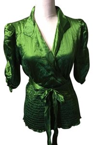INC International Concepts Silk Top Emerld Green