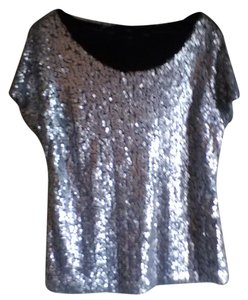 Worthington Sparkle Party Glitter Top Silver