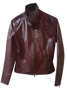 m0851 Leather Casual Night Out Red Wine Leather Jacket