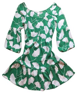 Diane von Furstenberg short dress Green & White Dvf Silk on Tradesy