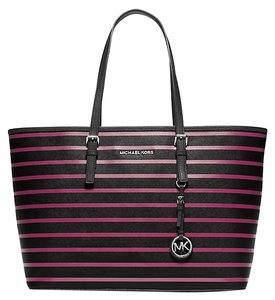 Michael Kors Computer Tablet Organization Fashion Tote in Black/Deep Pink