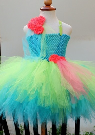 Turquoise Green Coral Made To Order Flower Girl Dress - Flower Girl Dress - Colorful Flower Girl Dress - Wedding