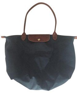 Longchamp Nylon Leather Gray Tote in Navy