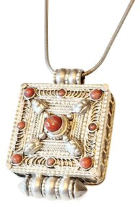 Antique Prayer Gau Box Indian Amulet Red Coral Sterling Silver