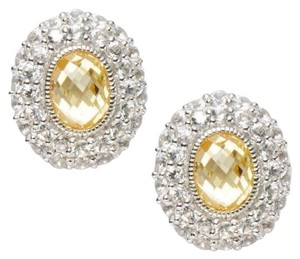 Judith Ripka JUDITH RIPKA ISABELLA 925 ST SILVER 18K GOLD CANARY CRYSTAL EARRINGS