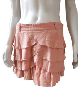 Wet Seal Mini Lined Ruffle 7537 Boho Mini Skirt Pink