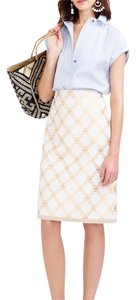 J.Crew Tweed Metallic Print Pencil Skirt Ivory Metallic