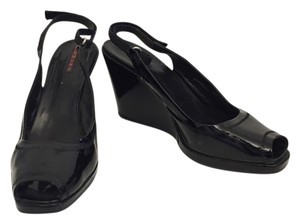 Prada Patent Leather Black Wedges