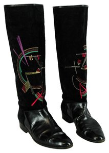 Pollini Leather Embellished Embroidered Abstract Black Boots