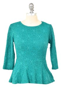 Anthropologie Stretch Knit Lace 3/4 Sleeve Top Jade Green