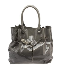 Valentino Patent Leather Tote in Grey