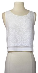 Elizabeth and James Crop Tunic Floral Top White
