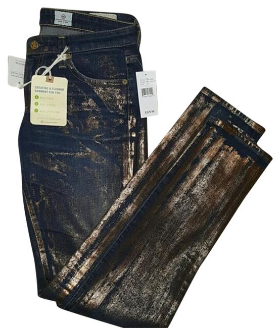 Item - Blue Denim with Gold Painted Details Dark Rinse 'the Legging' Gold/Denim Skinny Jeans Size 27 (4, S)