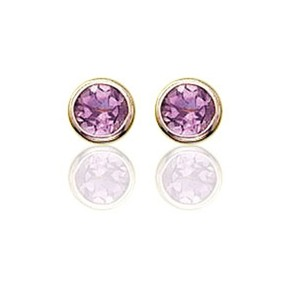 Other JewelryNest 14k Solid Gold Yellow Round Amethyst Earrings Stud