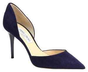 Jimmy Choo Suede Leather Addison Stiletto Pointed Toe D'orsay Navy blue Pumps