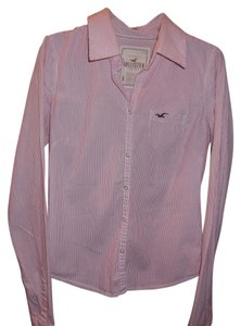 Hollister Sleeve Button Down Top Pink and White