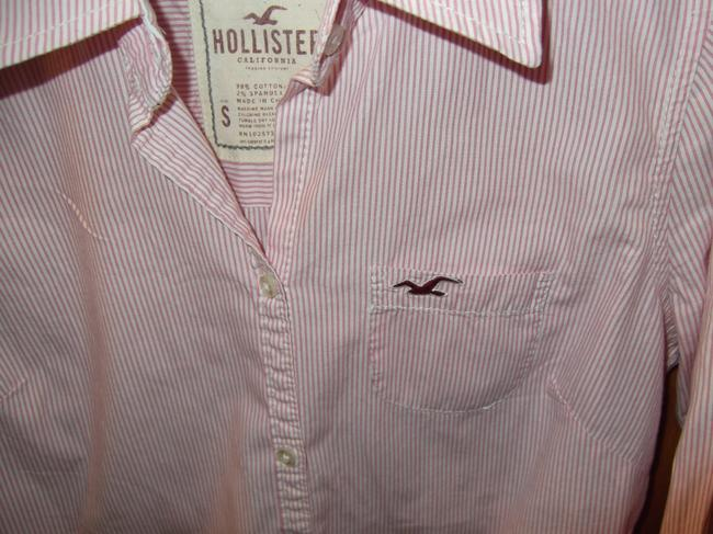 Hollister Sleeve Button Down Top Pink and White Image 1