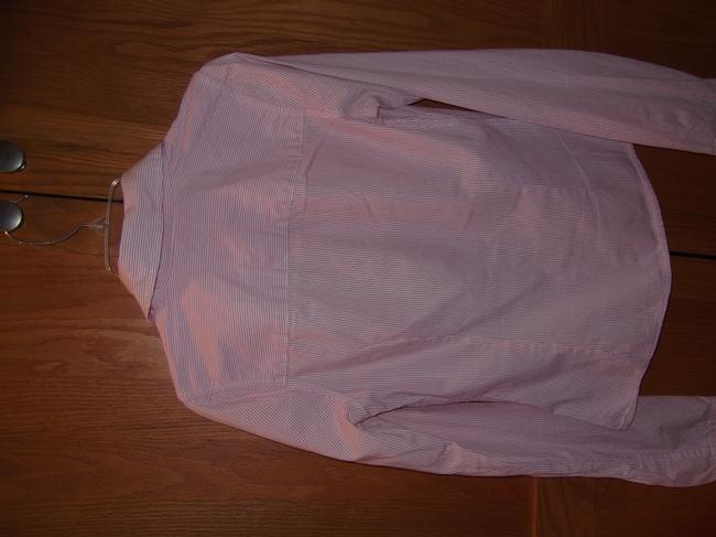 Hollister Sleeve Button Down Top Pink and White Image 2