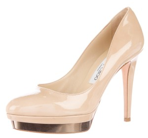 Jimmy Choo Hardware Round Toe Beige, Gold Pumps