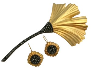 Judith Jack Pin and Earring Set, Gold Vermeil Marcasite