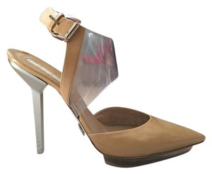 Michael Kors Collection Leather Highheel Lucite Tan Pumps