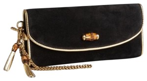 Gucci Suede Black and Gold Clutch