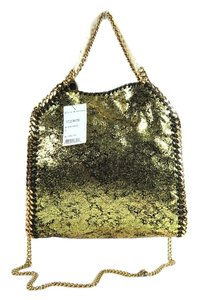 Stella McCartney Faux Suede Mini Metallic Tote in GOLD-BLACK
