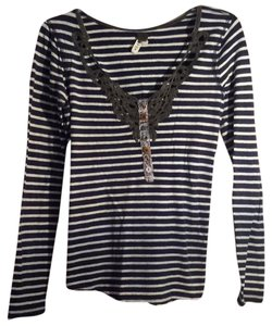 Free People Buttons Top Navy striped