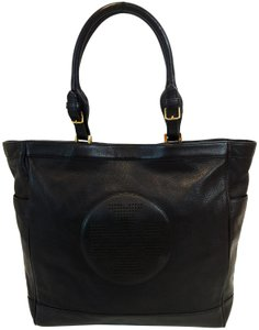 Tory Burch Kipp Pebbled Leather Perforated Tote in Black