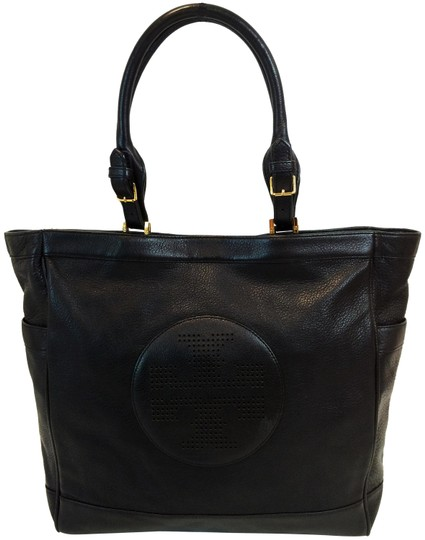 Tory Burch Kipp Pebbled Leather Perforated Tote in Black Image 0