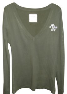 Abercrombie & Fitch V Neck Long Sleeve T Shirt Olive, Dark Green