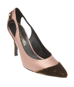 Chanel Cut Out Pointed Toe Formal ,Pink,Brown Pumps