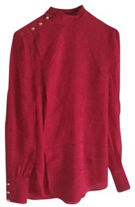 Balmain x H&M Fuschia Mock Neck Top Pink