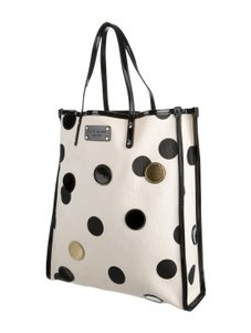Kate Spade Canvas Leather Patent Leather Tote in Black/Ivory/Gold