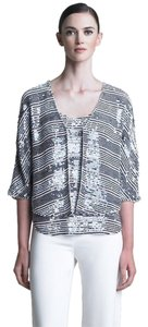 Armani Collezioni Luxury Beaded Sequin Top Blue/White