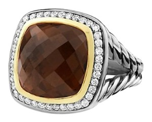 David Yurman David Yurman Gold & Silver Albion Ring With Smokey Quartz & Diamonds