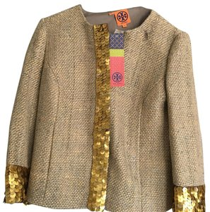 Tory Burch Grey and Gold Blazer