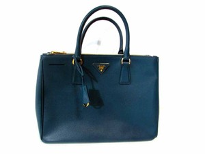 Prada Saffiano Lux Zip Leather Tote in Teal