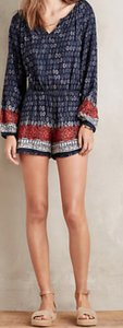 Anthropologie short dress Navy/Multi Romper Adorable on Tradesy