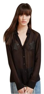 Reformation Blouse Transparent Star Button Down Shirt Black