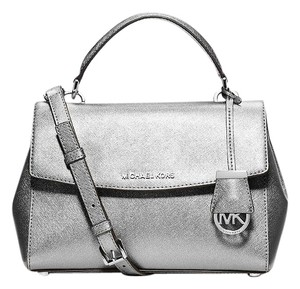 Michael Kors Rare Logo Charm Metallic Saffiano Leather Satchel in Sliver